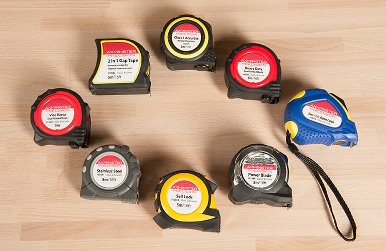 Axminster Precision Tape Measures range